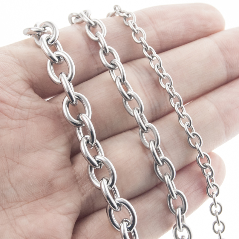 100% Stainless Steel Chain For Jewelry Making 4/6/8mm Silver Gold Metal Rolo Link Chain By Meter Cadenas Por Metros No Clasp
