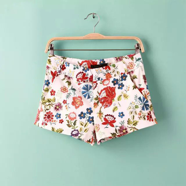 S-XL fashion Summer hot shorts women shorts pockets zipper floral printed short pants cozy slim leisure vacation shorts MA8121