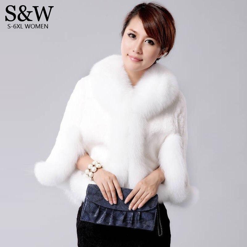 hiver femmes fur poncho fourrure de lapin manteau de fourrure gilet de fourrure de renard col - Bolero Fourrure Mariage