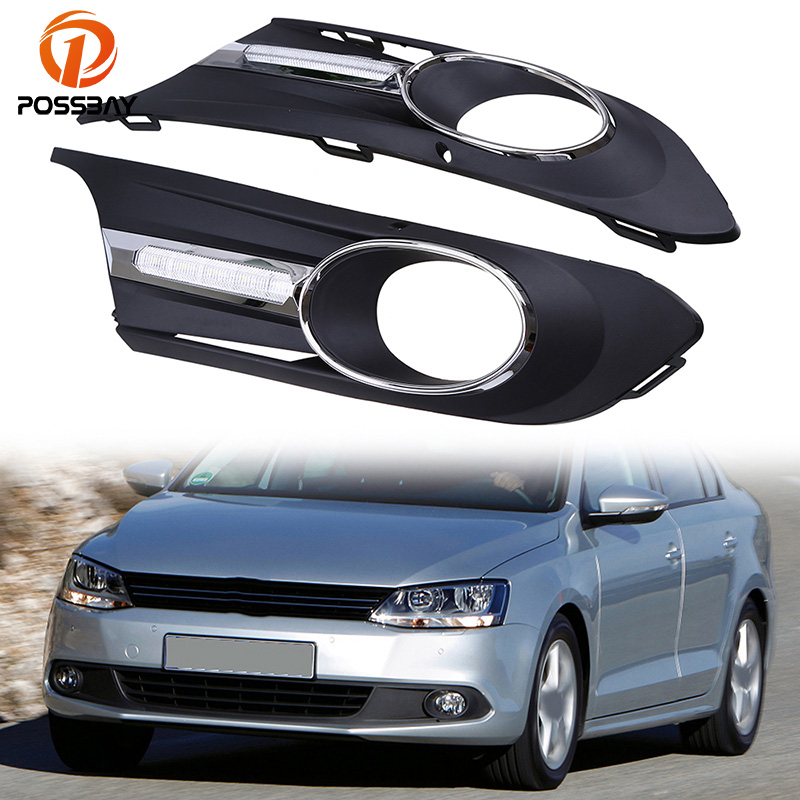 POSSBAY Car-styling Front Fog Light Lamp Cover Grille Replacement for VW Jetta MK6 2011-2014 Pre-facelift White Running Lights 2pcs car light for vw jetta 6 jetta mk6 2011 2012 2013 2014 car styling front halogen fog light fog lamp left and right side