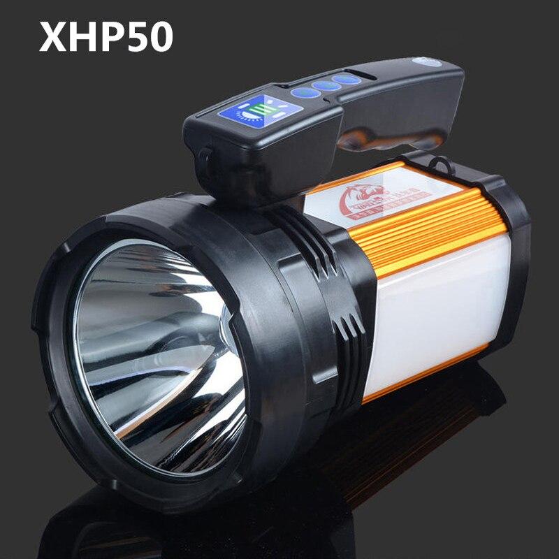 2019 Haute Puissance led Searchligh XHP50 2600LM lampe de travail portative lampe étanche Rechargeable lanterne portative Camping chasse