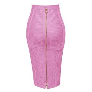 Image 5 - Free Shipping Plus Size XL XXL Summer Fashion Sexy Zipper Bandage Skirt 2019 Designer A Line Pencil Skirt Faldas 58cm