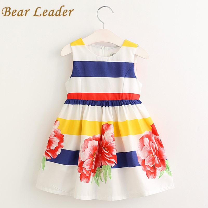 Bear Leader Girls Dress Summer 2017 Brand Girls Clothes Kids Dresses Floral Sleeveless Children Dress Princess Costume 3-7Y bear leader girls dress 2016 brand princess dress kids clothes sleeveless red rose print design for grils more style clothes