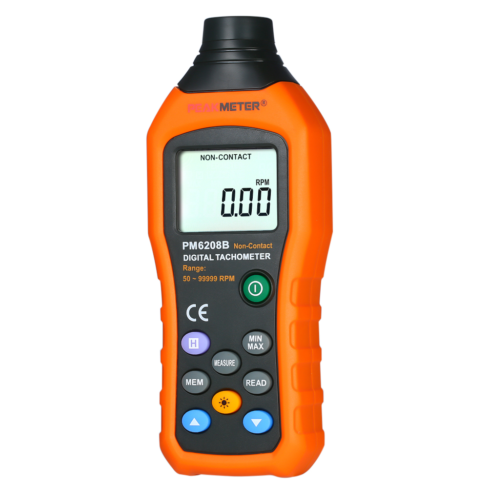 PM6208B Non Contact Digital Tachometer 50~99999RPM max Speed Meter Rotation Tester LCD Display Motor Speed Meter