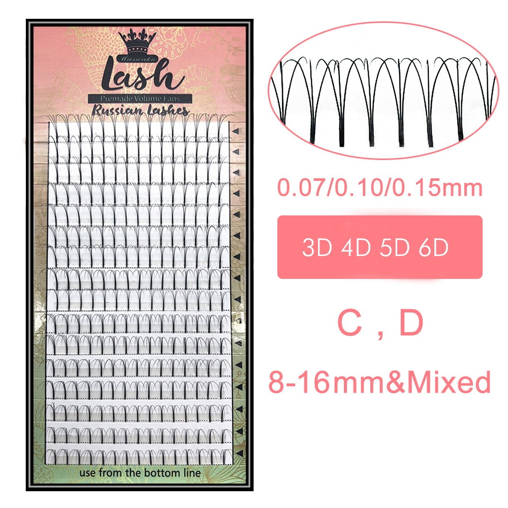 MAS Lashes 16 Lines Premade Volume Fans 3d/4d/5d/6d Lash Russian Volume Eyelash Extensions Pre Made Lash Extension Faux Mink(China)