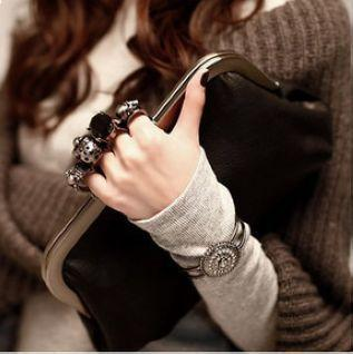 Women's skull ring gem decoration metal chain day clutch bag women's vintage fashion evening bags ladies hangdbags
