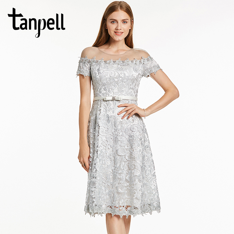 Tanpell lace cocktail dress sexy silver short sleeves knee length a line dress women scoop neck formal cocktail party dresses