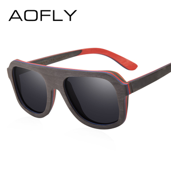 AOFLY BRAND DESIGN Men Sunglasses Bamboo Sunglasses Handmade Wooden Frame Polarized Mirror Lens Classic Gafas de sol UV400 AF618