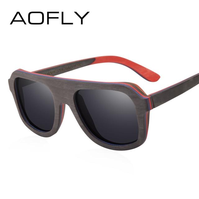 AOFLY BRAND DESIGN Men Sunglasses Bamboo Sunglasses Handmade Wooden Frame Polarized Mirror Lens Classic Gafas de sol UV400 AF618