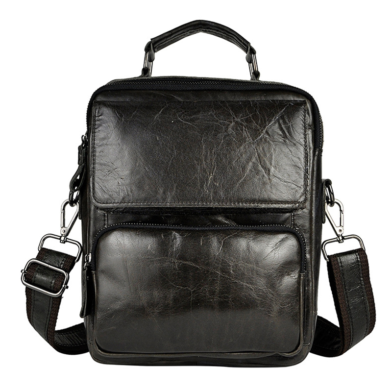 Men Genuine Leather Sling Shoulder Cross Body Bags Male Briefcase Business Bag Oil Wax Cowhide Messenger Pack Small Handbag New men shoulder bag genuine cowhide oil wax leather messenger crossbody bags male casual totes briefcase business top handle bag