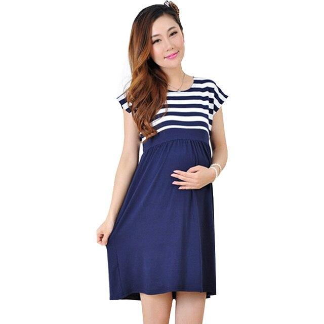 e636317aa Algodón Maternidad Vestidos ropa para las mujeres embarazadas cómodo rayado  embarazo casual madre de verano desgaste
