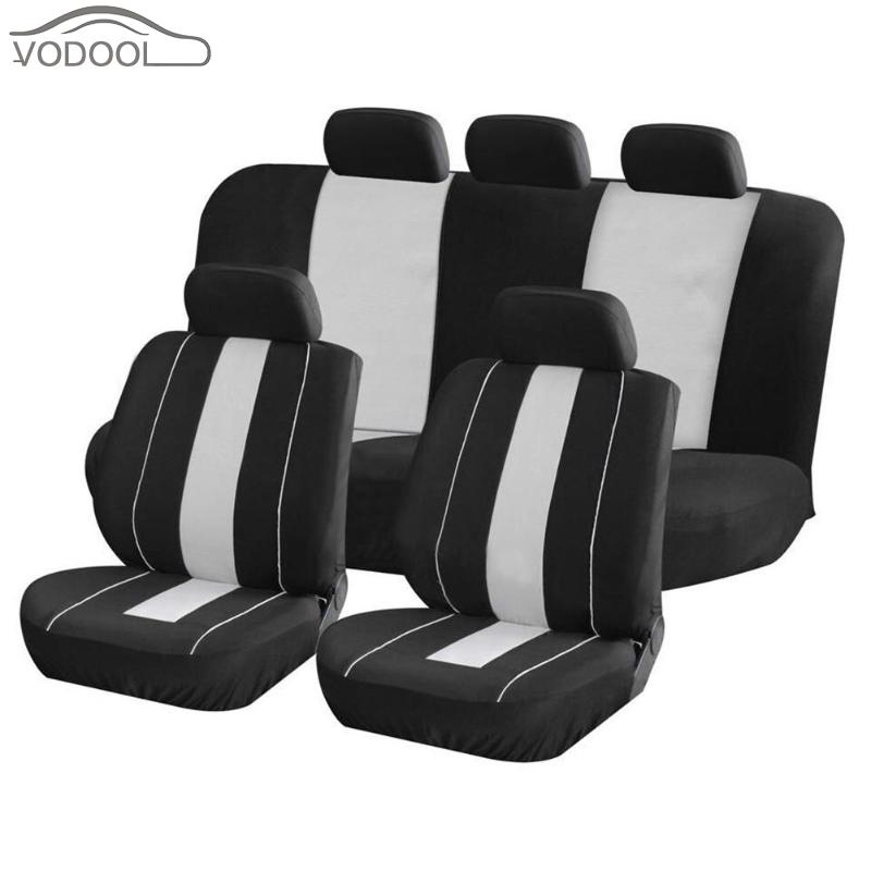 VODOOL Universal 9Pcs Full Set Car Seat Protective Covers Automobiles Front Rear Seat Head Rest Covers Protector Auto Accessory