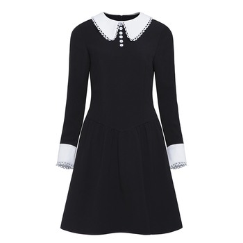 Women Gothic Dress Long Sleeve Autumn Female Black Button Dresses