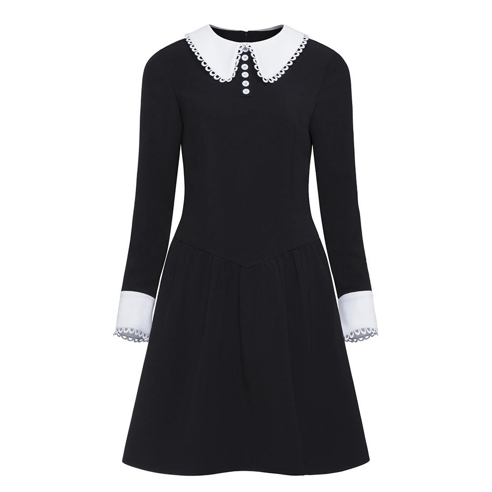 Rosetic Women Gothic Dress Long Sleeve Black Punk Dresses  Female Button Party Club School Girl Dark