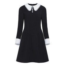 Rosetic Women Gothic Dress Long Sleeve Black Punk Dresses  Female Button Party Club School Girl Dark