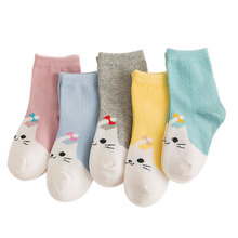 10 Pieces/lot=5 Pairs Spring Autumn Baby/Kids Socks Fashion Comfortable Pure Cotton Girl Calcetines Korea Cute Cartoon Cat Meias