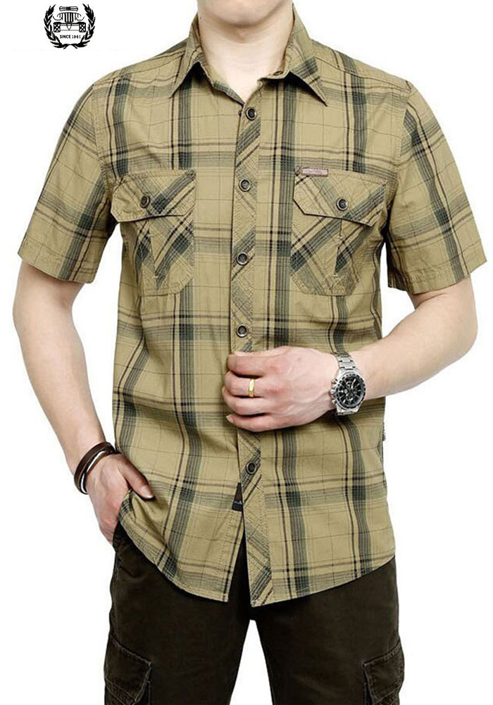 2019 M~5XL 3 COLOR 2017 New Summer Plus Size Plaid HOT SELL Casual Shirt Men Cotton Short Sleeve Shirt HOT Sale Brand CLOTHES