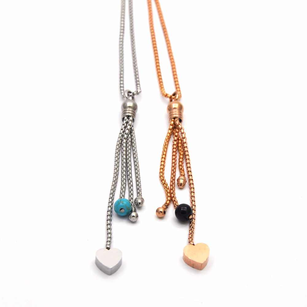 2019 New Coming Elegance Heart Two Color Stainless Steel Necklace  For Women N5134 (The beads are randomly matched in color)
