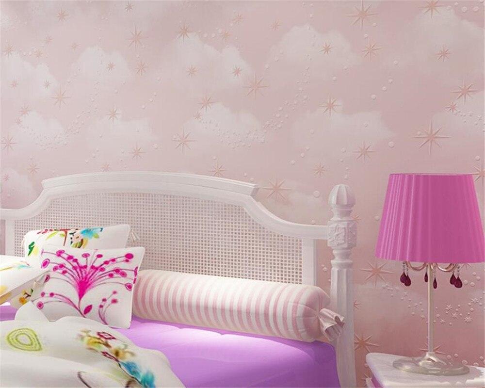 Babykamer Behang Sterren : Beibehang diepe reliëf roze blauwe hemel witte wolken sterren