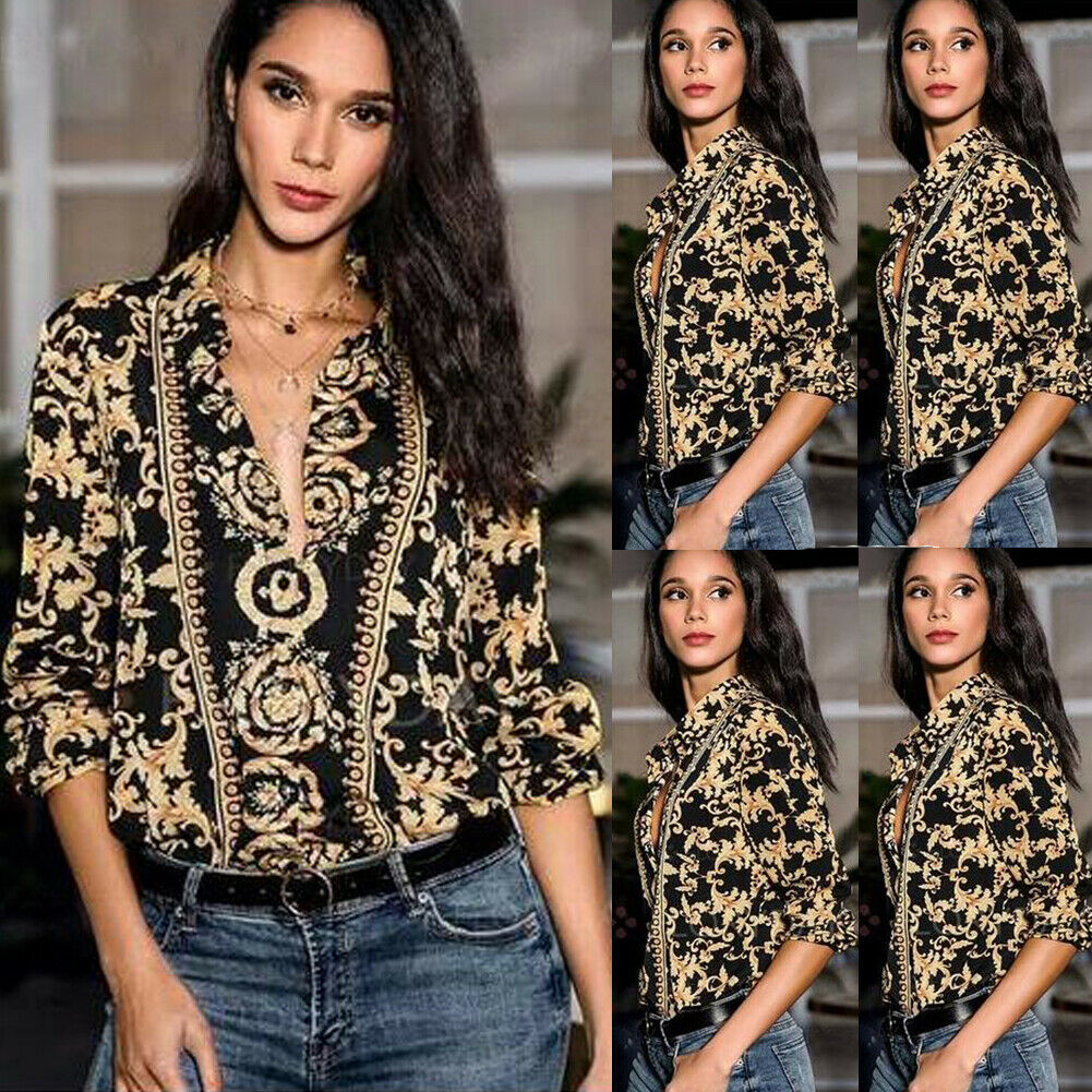 Lady 2019 Women Spring and Autumn Sexy Fashion Long Sleeve Top V Neck Casual Floral Elegant Collar Long Sleeve Tops   Blouse     Shirt