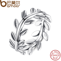 BAMOER 2016 New Collection Authentic Laurel Wreath Laurel Leaves Ring 100 Fine 925 Sterling Silver Jewelry
