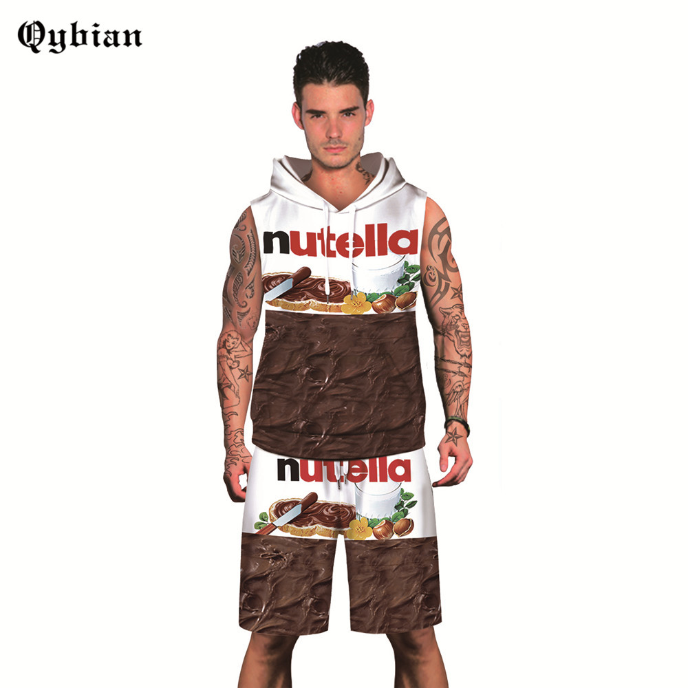 2018 New Fashion Summer Sleeveless Sets Men 3D Milk Chocolate Printing Suits For Men Hooded Suit Sets T Shirt +Pants
