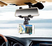 Adjustable Rotary GPS Mobile Phone Car Auto Rearview Mirror Mount Holders Stands For HTC Ocean Note