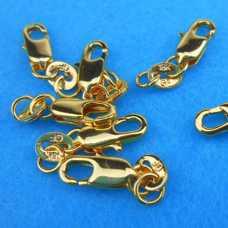 20 Pcs A Lot 18K Gold Filled Platinum Plated Lobster Clasp With Opening Jump Ring Charms Jewelry Findings