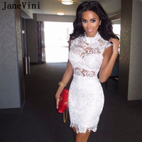 JaneVini Sexy White Straight Dress Cocktail Short Lace Cap Sleeve Homecoming Dress 2019 Mini Graduation Party Dresses Cocteleria