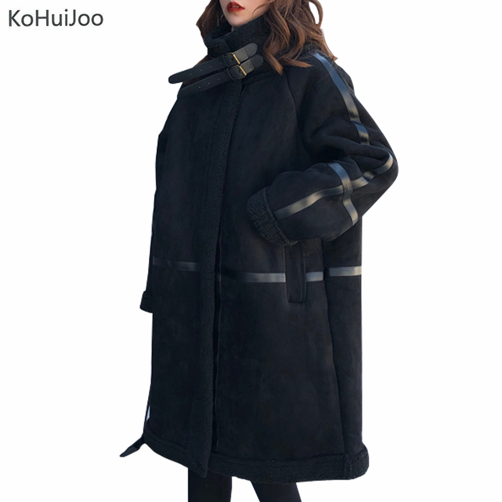 KoHuiJoo Korean Fashion Thick Suede   Parka   Wide Waisted Faux Fur Patchwork Coat Long Sleeve Zipper Winter Jacket Women 2019