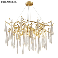French High Quality Modern Living Room Lustre Chandeliers Luxury Villa Art Copper Crystal Chandelier Designer Champagne