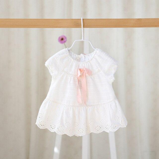 2016 новые детские летние сладкие новорожденных девочек лук чистого ребенка с короткими рукавами Футболки для новорожденных девочек-младенцев одежда