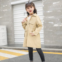 Girls Trench Coat Khaki with Belt Double Breasted Jackets For Girls Clothing Top