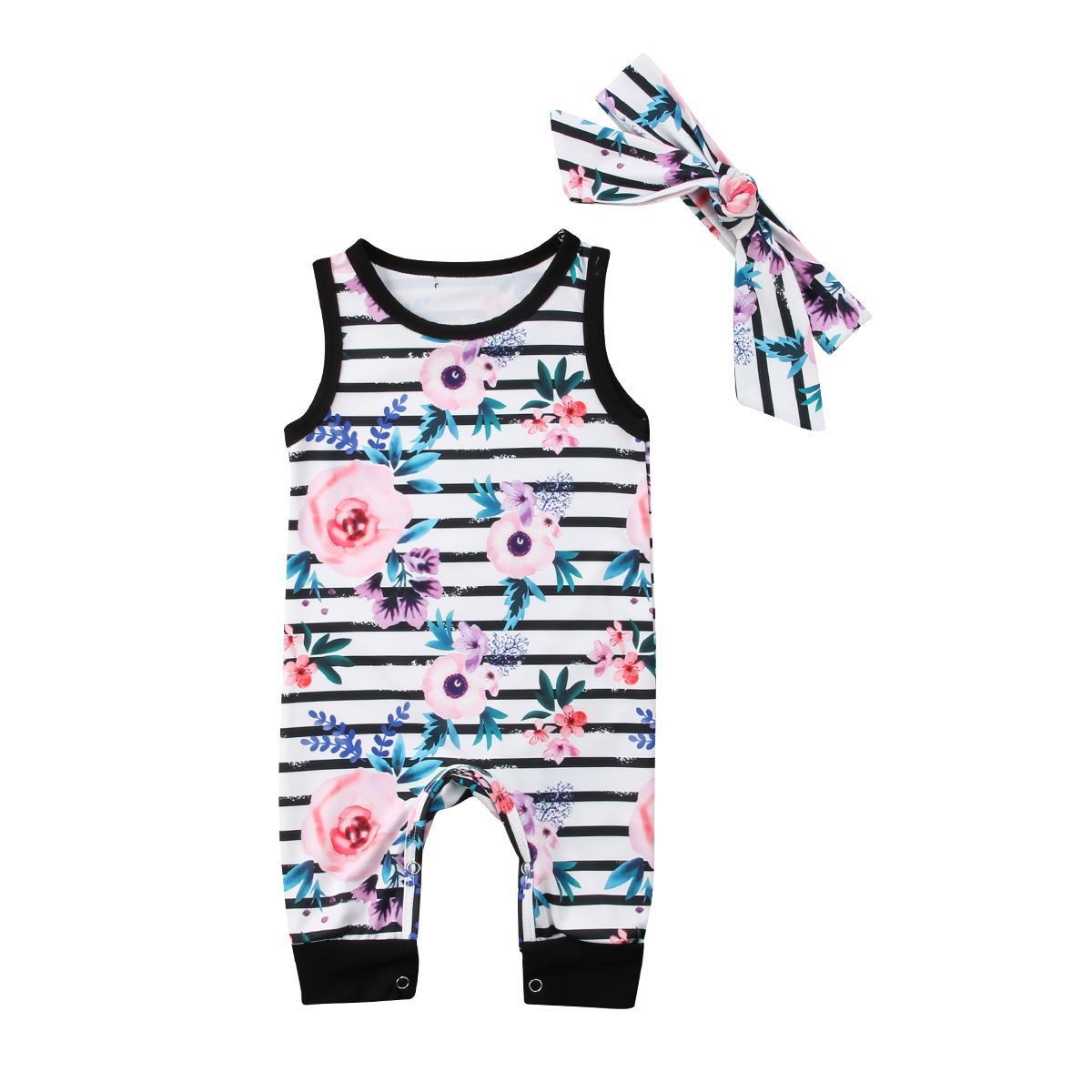 2Pcs Bodysuit Newborn Kids Baby Girls Flower Sleeveless Cotton Bodysuit Jumpsuit Headband Outfits Sunsuit