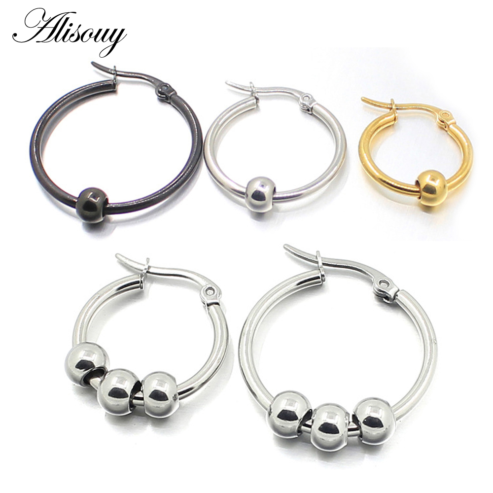 Aisouy Black Silver Gold color Stainless Steel <font><b>Earrings</b></font> Women Small Ball Big <font><b>Hoop</b></font> <font><b>Earrings</b></font> Party Rock Gift, <font><b>3</b></font> colors wholesale image