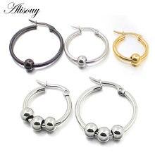 Женские серьги кольца aisouy черные золотые серебристые из нержавеющей