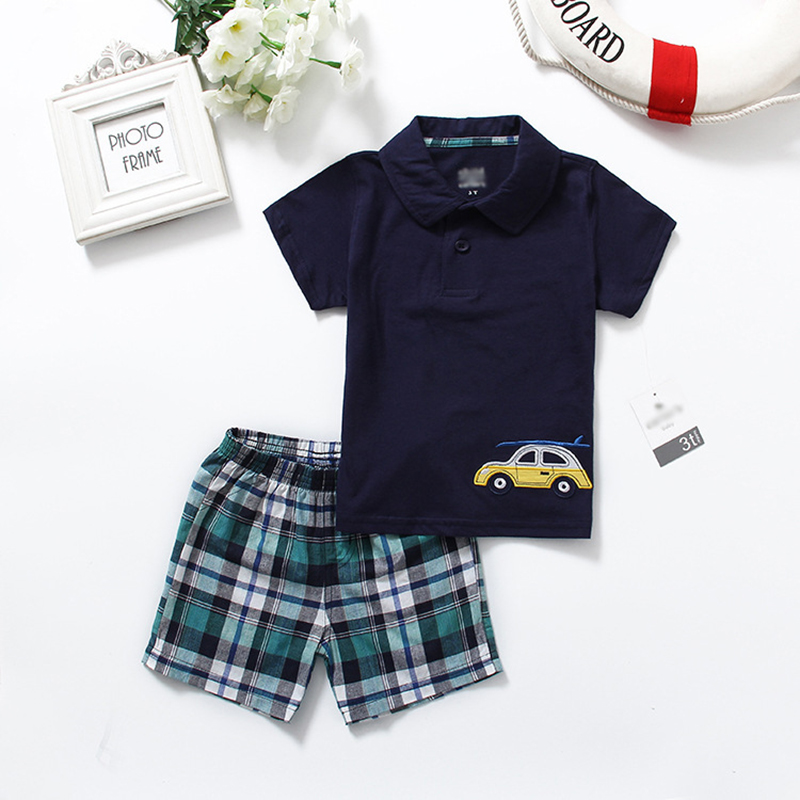 New Summer Baby Boys Clothes Kids Short Sleeve Clothing Set Car Toddler Boys short sleeved T-Shirts+Children Shorts 017 summer baby boys clothing set kids clothes toddler boy short sleeved t shirts shorts girls clothing sets for kid