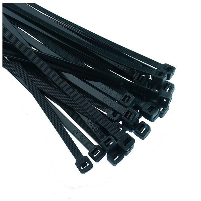Black Nylon Cable Ties Zip Ties Wraps - 3.6 x 300mm Pack 200pcs