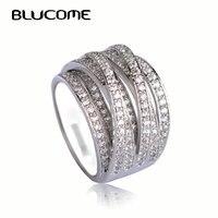 Blucome New Arrival Hiệu Zircon Copper Nhẫn Joias Engagement Ring Tình Yêu Sang Trọng Anel Feminino Bague Lớn Kích Thước Ngón Tay Bijoux