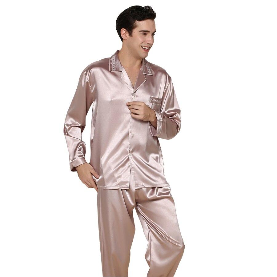 sexy pajamas 2016 Adult Men Pajamas Sexy Both Robe Shorts Sleepwear Silk Pyjamas Long Sleeve Solid Nightwear Set