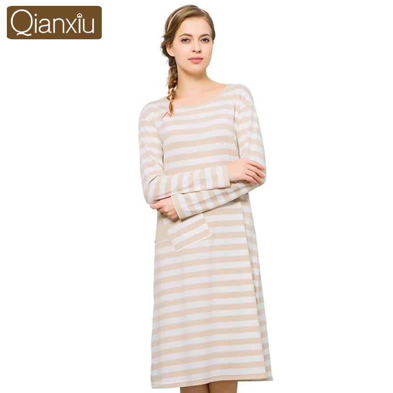 2c017384e0 Qianxiu Autumn Women sleepwear Cotton Long Sleeve striped Nightgowns Female  Comfortable Nightwear 1665-in Nightgowns   Sleepshirts from Women s  Clothing   ...