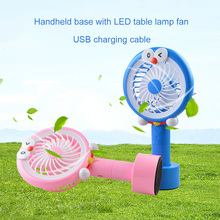 Portable mini fan with LED light USB charging for outdoor indoor office