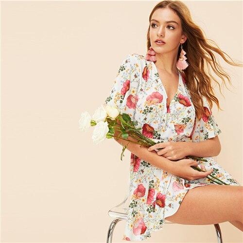 Multicolor Fluted Sleeve Wrap Belted Floral Print Mini Summer Dress Women VNeck Flounce Hem A Line Bohemian Dresses