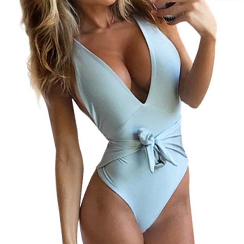 2018 Deep-V Neck One Piece Women Swimwear Slim Waist Bowknot Front Monokini Plunging Neck Belt Swimsuit Bathingsuit Sexy Maillot