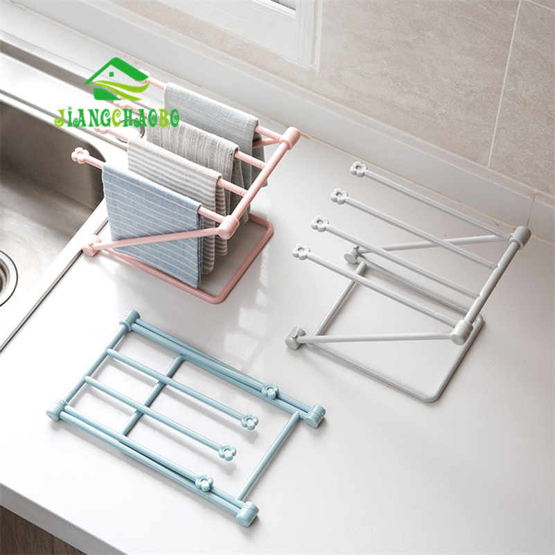 JiangChaoBo Foldable Vertical Rags Kitchen Towels Hanger Table Storage Rack Cup Holder Racks