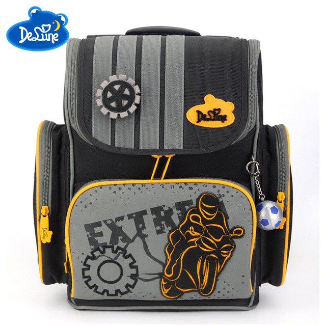 Factory Outlet Delune Brand Kids Orthopedic School Backpack Bag Boys  Cartoon Cars School Backpack for 5-9 Years Child School Bag 29d74b7f1fcd9