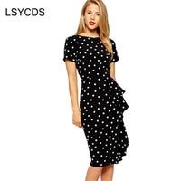 Women S Fashion Vintage Style 50s 60s Rockabilly Polka Dot Brief Ruffles Bodycon Wear To Party