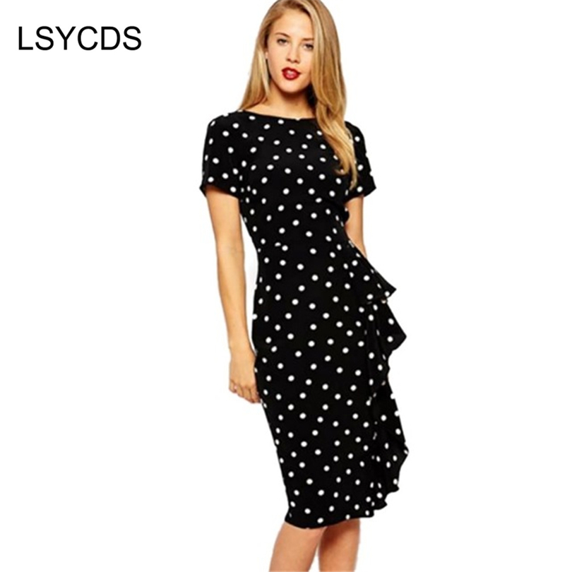2018 Qadın Yay Don Vestidos Vintage Style Rockabilly Polka Dot Qısa Ruffles Bodycon Office Təsadüfi Don Plus Ölçü S-4XL