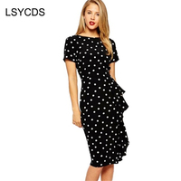 Women S Fashion Vintage Style 50s 60s Rockabilly Polka Dot Brief Ruffles Bodycon Wear To Party