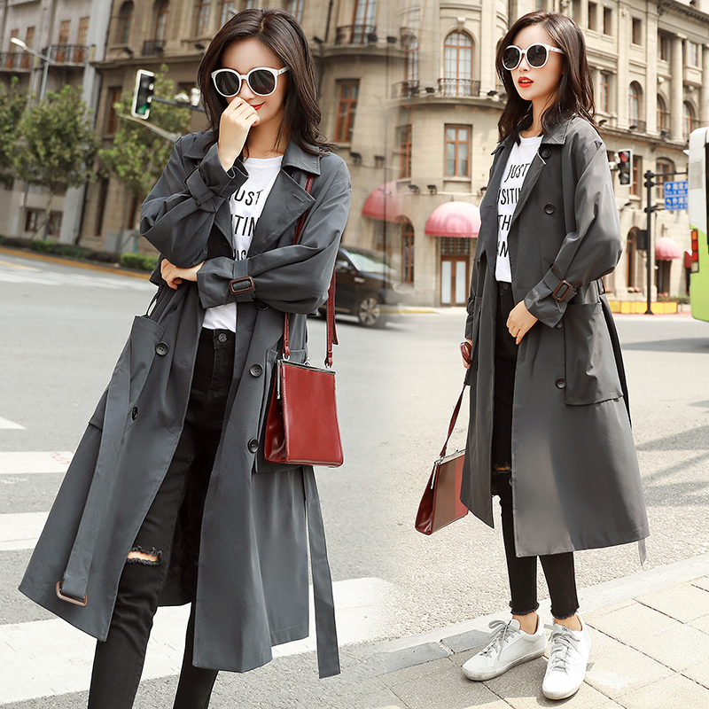 2018 Autumn New Women   Trench   Coat Long Windbreaker Fashion Trend Double-Breasted Loose Long   Trench   dust coat